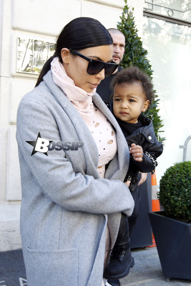 KIm Kardashian and North West out in Paris.