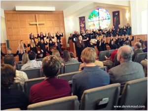 Adult and kids choirs offering praise at WFPC